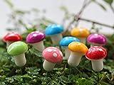 Mossfairy 18pcs Miniature Fairy Garden Mushrooms Colorful