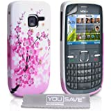 Stylish Pink / White Floral Bee Pattern Silicone Gel Case Cover For The Nokia C3 With Screen Protect