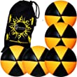 5x Flames N Games ASTRIX UV Thud Jonglierb�lle 5er Set (Schwarz/UV Orange) Profi Beanbag B�lle aus Glattleder (Leather) + Reisetasche! Ideal f�r Anf�nger und Profis!