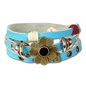 SilberDream Lederarmband türkis mit Nieten und Blume für Damen, Teenies oder Mädchen Leder Armband Echtleder LA2913T
