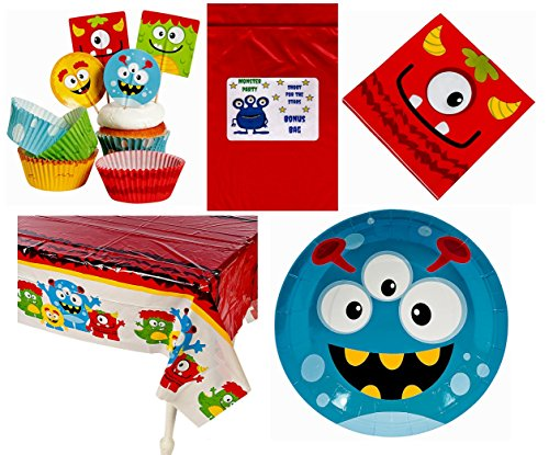 Silly-Monsters-Kids-Birthday-Party-Decorations-Tableware-Bundle-1-Tablecover-50-Cupcake-Picks-Baking-Cups-16-Napkins-8-Plates-Bonus-Bag