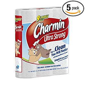 Charmin Ultra Strong Toilet Paper, 9 Large Rolls (Pack of 5)