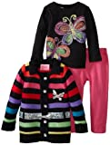 Young Hearts Baby-Girls Infant 3 Piece Rainbow Stripped Butterfly And Pant Set, Black, 12 Months