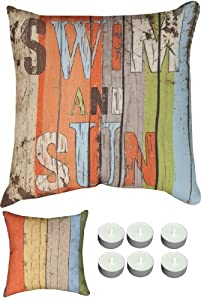 "Manual Woodworkers SLSNS8 Beach Swim & Sun 18"" x 18"" Climaweave Outdoor / Indoor Pillow with 6-Pack of Tea Candles from Manual Wood Workers & Weavers"