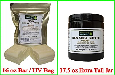 Certified ORGANIC RAW SHEA BUTTER Unrefined, Virgin * Ivory White (Tan) Premium quality * From the Shea Nut of the Karite Tree & Imported From the African Country of Ghana [Choose Your Size Option]