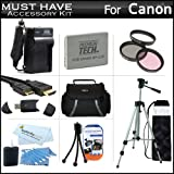 "Must Have Accessory Kit For Canon VIXIA HF R20, HF R21, HF R200 Full HD Camcorder Includes Extended (1500Mah) Replacement BP-110 Battery + Ac/Dc Travel Charger + Deluxe Case + Mini HDMI Cable + 50"" Tripod w/Case + 3PC Filter Kit (UV-CPL-FLD) + Much More"