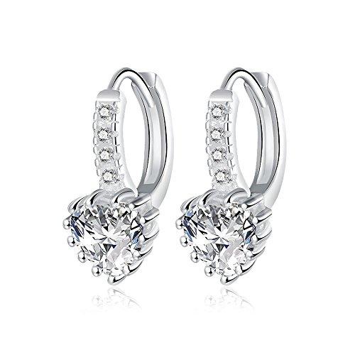 [Womens Sterling Silver Fashion Jewelry Heart Shape Zirconia Earrings for Gift] (Kitten Bear Costume)