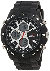 U.S. Polo Assn. Sport Men's US9140 Black Rubber Strap Analog Digital Watch