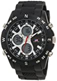 U.S. Polo Assn. Mens US9140 Black Rubber Strap Analog Digital Watch