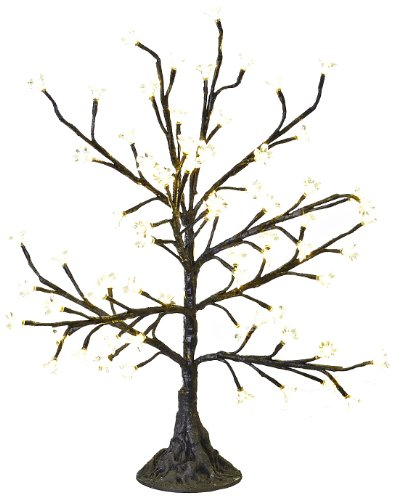Arclite Nbl-050-6 Cherry Blossom Tree, 2.5' Height, With Black Trunk, Clear Crystals And Warm White Lights