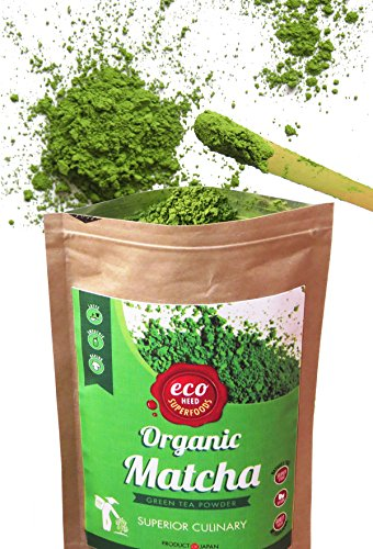 Matcha Green Tea Powder - Superior Culinary - USDA Certified Organic From Japan -Natural Energy & Focus Booster Packed With Antioxidants. Matcha Tea For Mixing In Lattes, Smoothies & Baking. By eco heed (1.05oz)