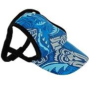 PlayaPup Sun Protective Dog Visors, Tiki Cobalt, Large