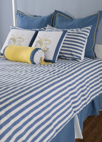 White and blue striped queen comforter buy seashore - Blue white yellow bedroom ...