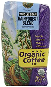 The Organic Coffee Co. Whole Bean, Rainforest Blend, 12 Ounce (Pack of 2)