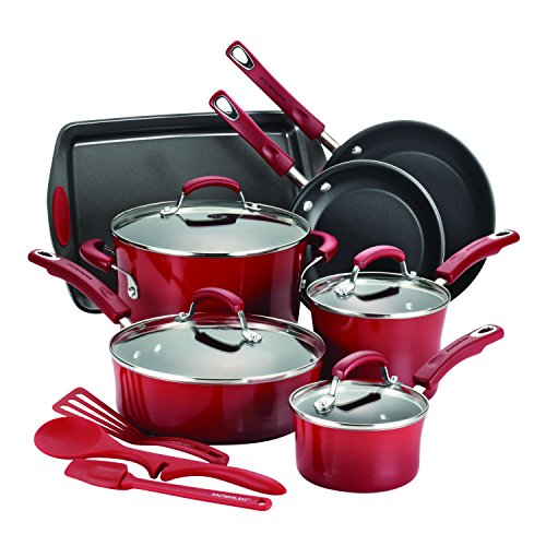 Rachael Ray 14-Piece Hard Enamel Nonstick Cookware Set, Red (Red Rachael Ray Pans compare prices)