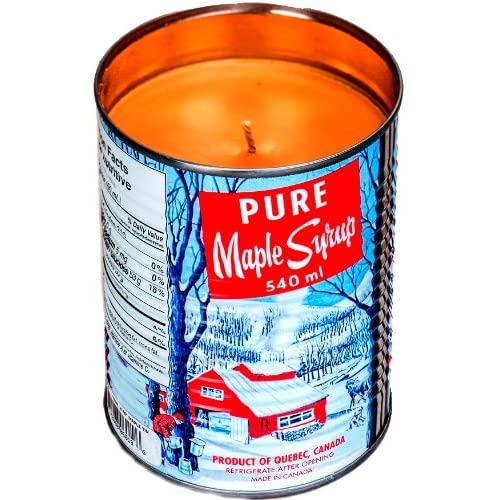 Real Maple Syrup Candle In Authentic Tradional Tin With Crackling Wood
