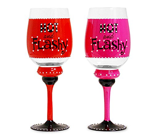 Hot and Flashy Rhinestone Accented Wine Glasses (Set of 2)