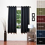 Premium Solid Grommet Top Thermal Insulated Blackout Curtain 183 cm L-1 Pair-BLACKby Best Home Fashion