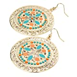 Round Drop Pierced Fashion Earrings Gold, Turquoise Blue & Orangeby Minerva Collection
