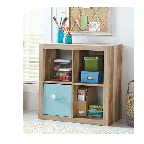 Better Homes and Gardens Bookshelf Square Storage Cabinet 4-Cube Organizer Weathered (Storage Bookcase compare prices)