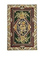 QURAMA Alfombra Chain Stitch Verde/Multicolor 153 x 92 cm