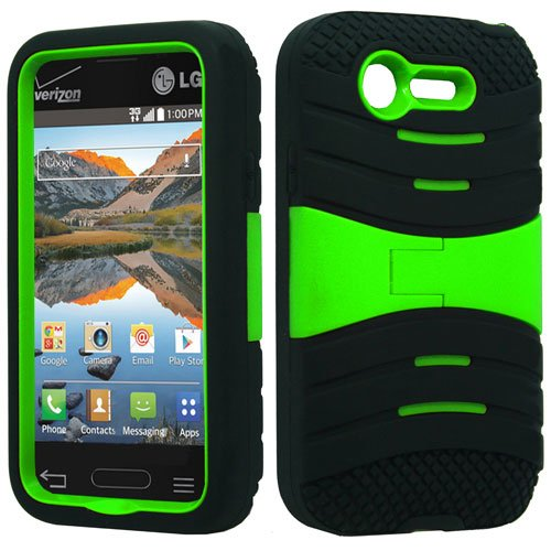 Black & Neon Green Symbiosis Stormer Impact Shockproof Armor Kickstand Case Cover + Atom Led Keychain Light For Lg Optimus Fuel / L34C (Straight Talk, Tracfone, Net 10)