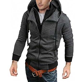DJT -Swears Shirts Manteaux Capuches Pull Hoodie Blouse Homme (couleurs differentes) Gris XS