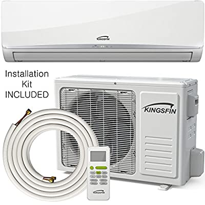 KINGSFIN 12,000BTU Mini Split Ductless AC Air Conditioner and Heat Pump 12000 BTU / 230V 15 SEER Complete System