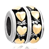 Pugster Charm Lover Bead Drum Shaped Heart Plated European Lover Bead Chamilia Biagi Fit Pandora