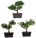 Nearly Natural 4122 Bonsai Decorative Silk Plant Collection, 8.5-Inch, Green, Set of 3 Sale