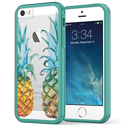 iPhone SE / 5S / 5 Case, True Color© Translucent Tropical Watercolor Pineapples Printed on Clear Transparent Hybrid Cover Hard + Soft Slim Thin Durable Protective Shockproof TPU Bumper Cover - Teal (Cool Animal Iphone 5 Cases compare prices)