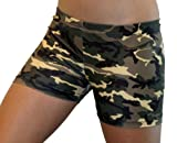 Camouflage Spandex Shorts (2.5 In. Adult S 4-6, Green Camo)