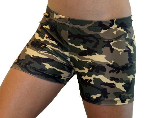 Camouflage Spandex Shorts (4 In. Adult XS 0-2, Green Camo) Army Camouflage Shorts