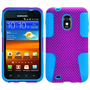 Hybrid Combination 2 in 1 Hard PC Mesh Plastic and Silicone Skin for Samsung Galaxy S II Epic Touch 4G D710 Andriod Smartphone /Sprint , Dragoncell Screen Protector Film-Purple/Blue