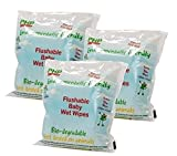 PHP Flushable Bio-Degradable Baby Wet Wipes x 300 wipes (3 packs of 100 wipes)