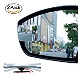 2 Pack Slim Square 360° Rotate + 20° Sway Adjustabe Blind Spot Mirror - Ampper HD Glass Convex Wide Angle Rear View Car SUV Universal Fit Stick On Lens