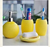 Yellow Texture - 4 Piece Set Ceramic Bathroom Accessory,Luxury Decor,Elegant Designing Bathrooms,Wedding Gifts,Soap Dispenser/Toothbrush Holder/1 Bathroom Tumbler/Soap Dish