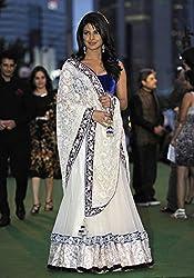 Khazanakart Designer White Color Net Fabric Un-stitched Lehenga Choli With Chiffon Dupatta Material.