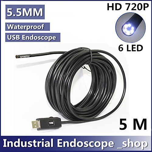 GCA 5.5mm Diameter USB Waterproof 6 Led Endoscope Borescope Inspection Wire Camera (5m)