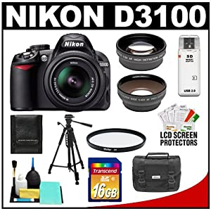 Nikon D3100 Digital SLR Camera & 18-55mm G VR DX AF-S Zoom Lens with 16GB Card + .45x Wide Angle & 2.5x Telephoto Lenses + Filter + Tripod + Accessory Kit