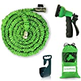 Expendable Garden Hose - 50 Ft Retractable, Lightweight & Flexible - 8 Pattern Function Gardening Spray Nozzle Watering�Included - Enhanced Brass Fitting Connectors - Free Hanger & Storage Bag Holder
