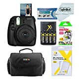 Fujifilm Instax Mini 8 Instant Film Camera (Black) With Fujifilm Instax Mini Instant Film Twin Pack (20 Sheets) + Compact Bag Case + Batteries & Battery Charger