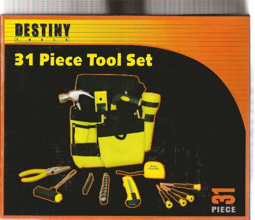 32 Pieces Tool Set: Hammer Hack Saw Plier Level Screwdrivers Sockets Carrying Case And More