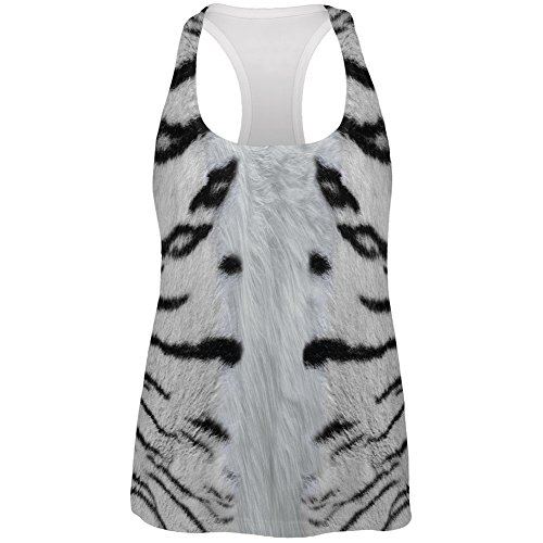 White Siberian Tiger Costume All Over Womens Racerback Tank Top