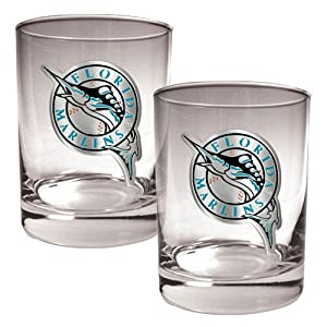 Florida Marlins MLB 2pc Rocks Glass Set - Primary Logo by Great American