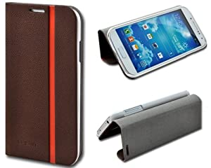 Shenit Samsung Galaxy S4 i9500 Slim Smart Leather Case Flip Cover Folio with Stand - Brown