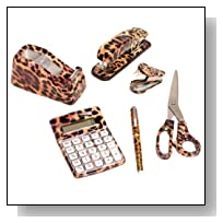 6 Set: Cheetah Animal Safari Print Office Kit Stapler Staple Remover Scissors Tape Dispenser Calculator & Pen