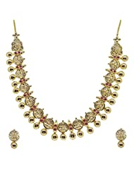 Sthrielite Cluster Gold Plated Lakshmi Design Necklace Set