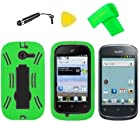 Heavy Duty Hybrid Phone Cover Case Cell Phone Accessory + Extreme Band + Stylus Pen + LCD Screen Protector + Yellow Pry Tool For Straight Talk Net10 Huawei Ascend Y M866 H866C / Huawei Ascend Y 201 U8666 (Green/Black)