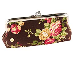 iSuperb® Coin Wallet Rose Pattern Purse Canvas Handbag Gift Jewelry Cards Trinkets Pouch Clasp Closure Pouch (Coffee)